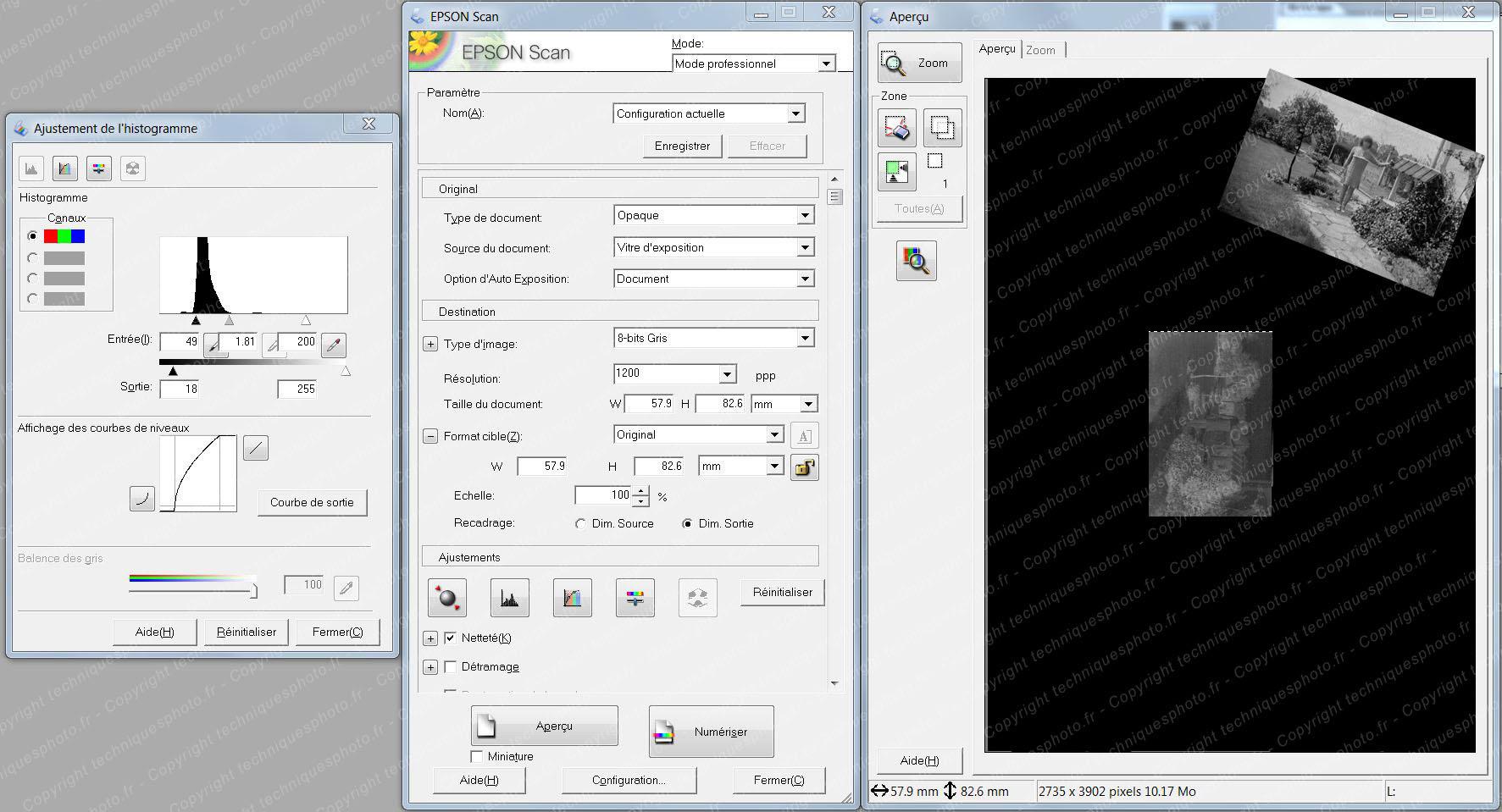 Plan film professionnel 6x9 cm paramétrage scanner