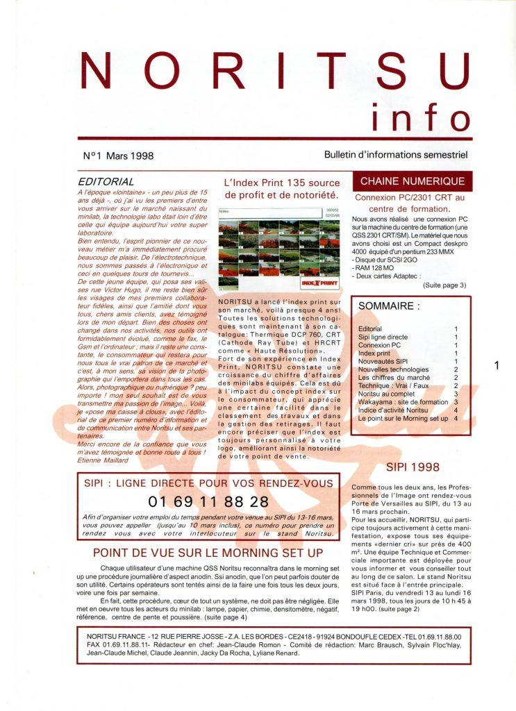 Newsletter Noritsu Info Page 1