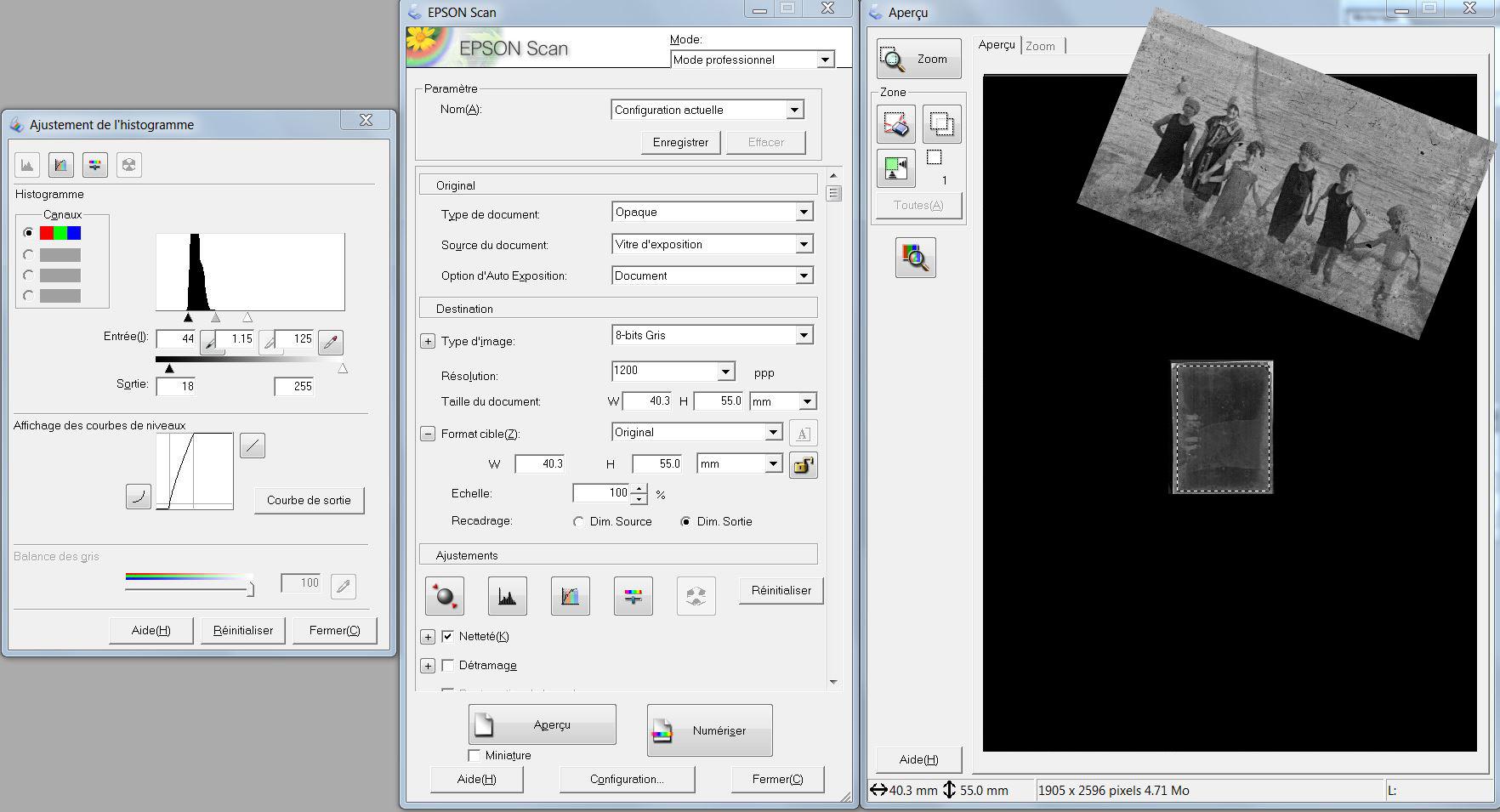 plaque de verre paramétrage scanner