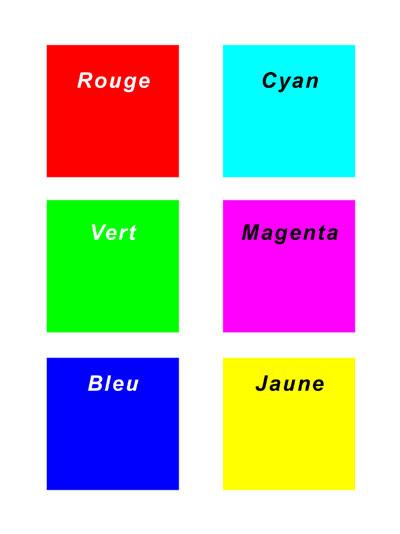 Photo les six couleurs de base