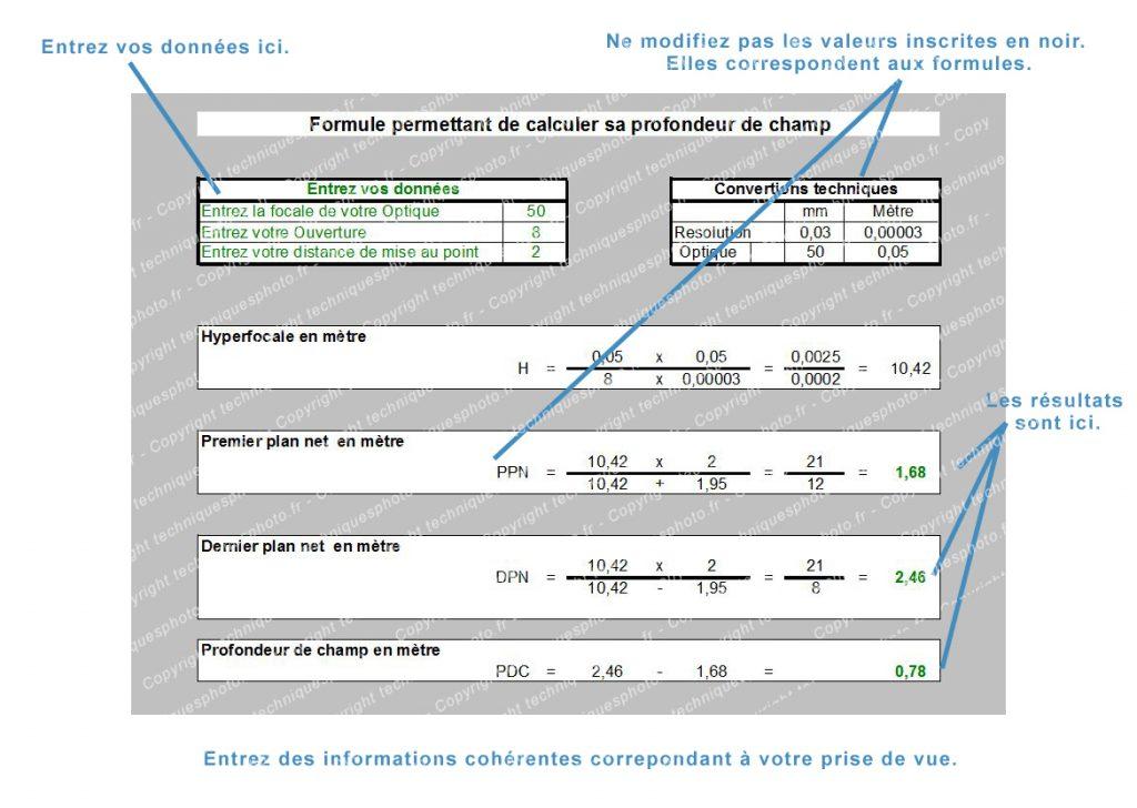 Calculer la  profondeur de champs avec Excel