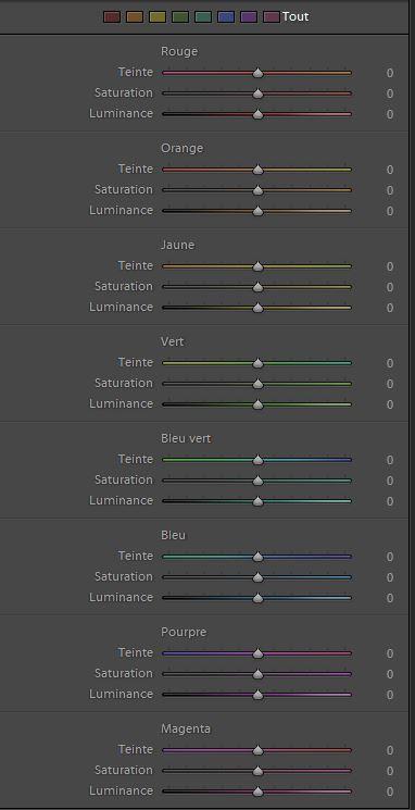 Menu colorimétrie sur Lightroom